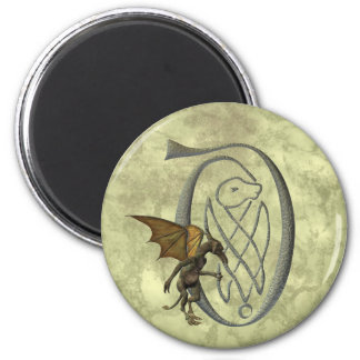 Gargoyle Decorated Initial D 2 Inch Round Magnet