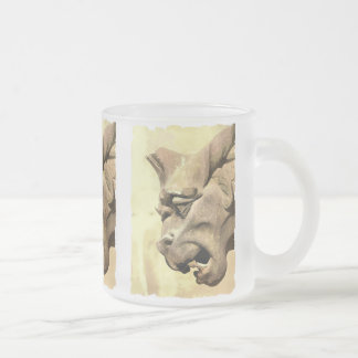 GARGOYLE FROSTED GLASS COFFEE MUG