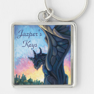 Gargoyle Guardian Silver-Colored Square Keychain