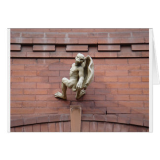 Gargoyle Hanging on  Red Brick Wall Card