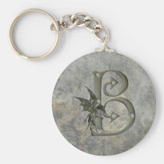 Gargoyle Monogram B Basic Round Button Keychain