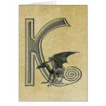 Gargoyle Monogram K Greeting Card