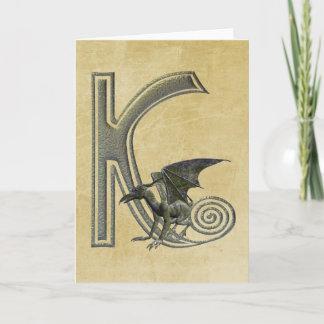 Gargoyle Monogram K Note Card