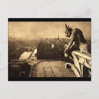 Gargoyle Notre Dame, Paris France 1912 Vintage postcard