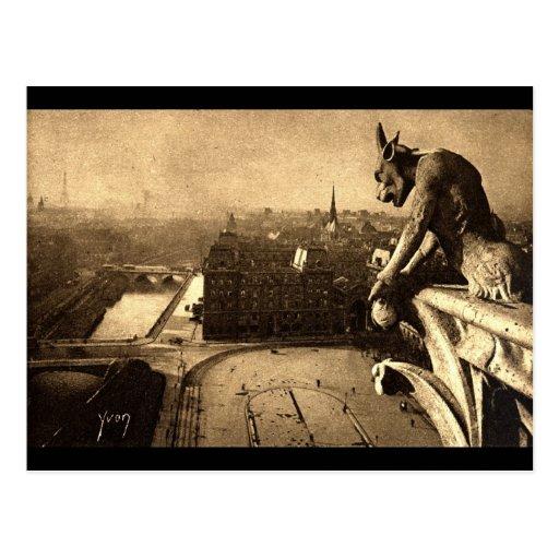 Gargoyle Notre Dame, Paris France 1912 Vintage Postcards