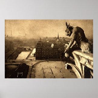 Gargoyle Notre Dame Paris France 1912 Vintage Print