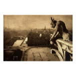 Gargoyle Notre Dame, vintage 1912 de París Francia Posters