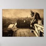 Gargoyle Notre Dame, vintage 1912 de París Francia Póster