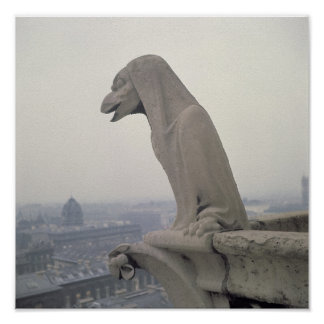 Gargoyle on the balustrade of the Grande Poster