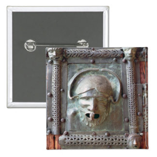 Gargoyle panel from the left door of the portal, 1 2 inch square button