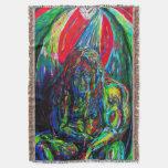 Gargoyle Sci Fi Winged Creature Oil Paint Colorful Throw Blanket
