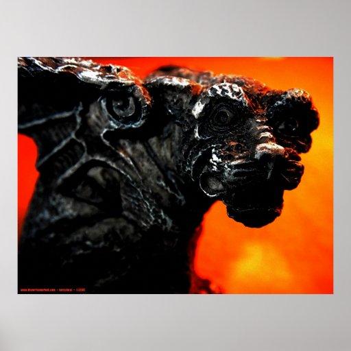 Gargoyle y fuego póster