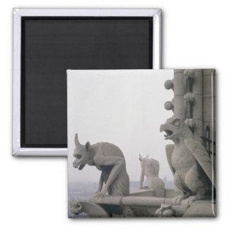Gargoyles en la barandilla del grande imán para frigorifico