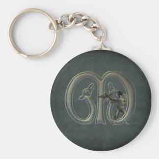 Gargoyles Monogram M Basic Round Button Keychain