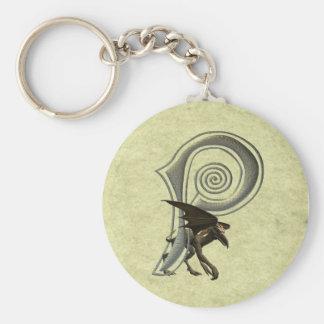 Gargoyles Monogram P Basic Round Button Keychain