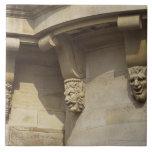 Gargoyles on Pont Neuf bridge in Paris, France Tile