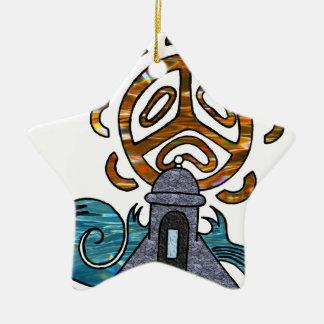 garita del diablo y Sol Taino Double-Sided Star Ceramic Christmas Ornament