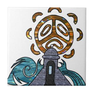garita del diablo y Sol Taino Small Square Tile