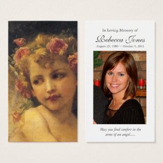 Garland Angel Funeral Sympathy Prayer Card