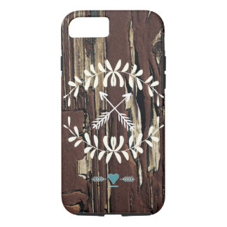 Garland Hearts Crossed Arrows Barnwood Retro iPhone 7 Case