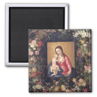 Garland of Fruit and Flowers with Virgin and Child 2 Inch Square Magnet