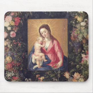 Garland of Fruit and Flowers with Virgin and Child Mouse Pad