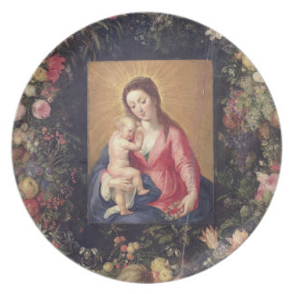 Garland of Fruit and Flowers with Virgin and Child Party Plate
