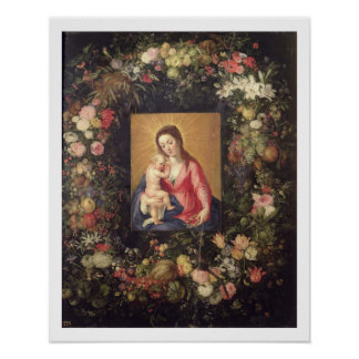 Garland of Fruit and Flowers with Virgin and Child Poster