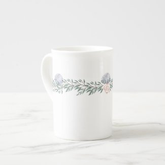 Garland Of Hydrangea and Rose Bone China Mug