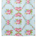 garland of shabby chic roses, blue,victorian,girly shower curtain