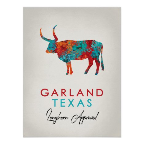 Garland Texas Colorful Longhorn Poster