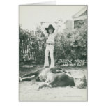 Garlene Tindall que se coloca en un caballo del tr Tarjeta
