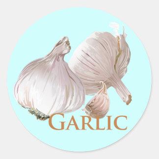 Garlic and Garlic Clove Classic Round Sticker