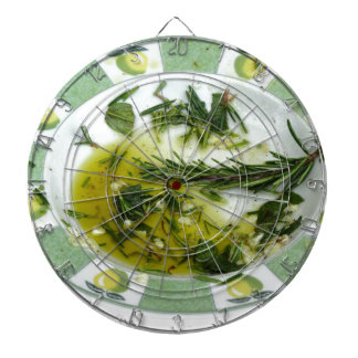 Garlic and herb infused olive oil dartboard with darts