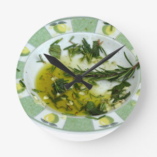 Garlic and herb infused olive oil round clock