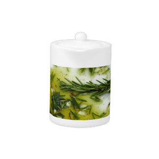 Garlic and herb infused olive oil teapot