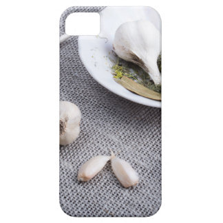 Garlic and spices on a gray fabric background iPhone SE/5/5s case