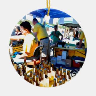 Garlic Festival offers garlic vinegar and olive oi Ceramic Ornament
