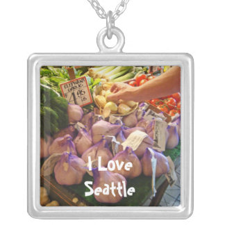 Garlic Square Pendant Necklace