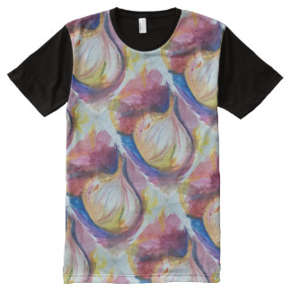 Garlic Portrait Collage Painting Artistic All-Over-Print Shirt
