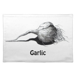 Garlic: Realistic Pencil Drawing: Freehand Art Placemats