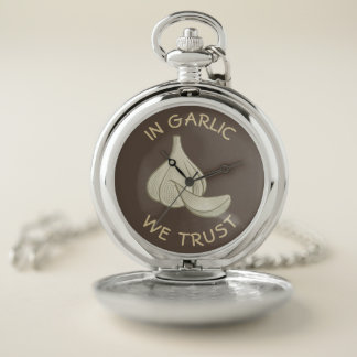 Garlic Woodcut Icon Pocket Watch
