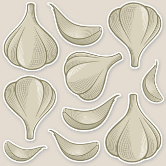 Garlic Woodcut Icon Sticker Set