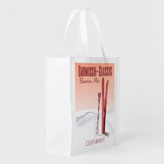 Garmisch Classic,Bavarian Alps Ski poster Grocery Bag