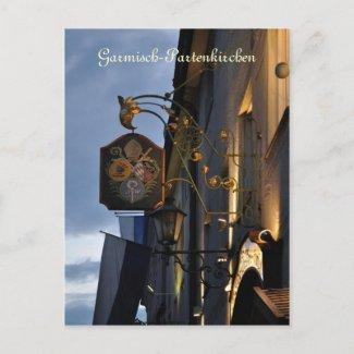 Garmisch-Partenkirchen at night postcard postcard
