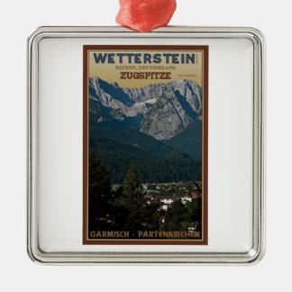 Garmisch - Zugspitze above Town Metal Ornament
