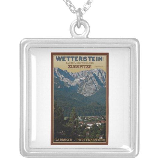 Garmisch - Zugspitze above Town Silver Plated Necklace