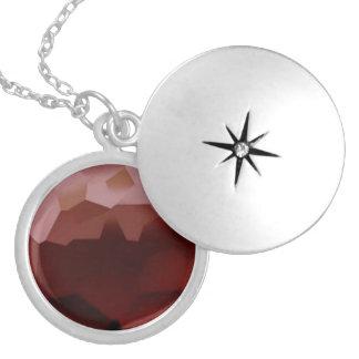 Garnet 01, January, Birthstone Round Locket Necklace