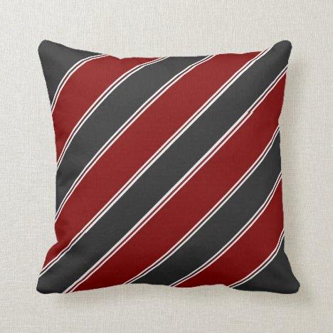 Garnet and Black Full Stripe Throw Pillow
