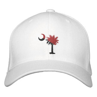 Garnet and Black Palmetto  Moon Embroidered Hat